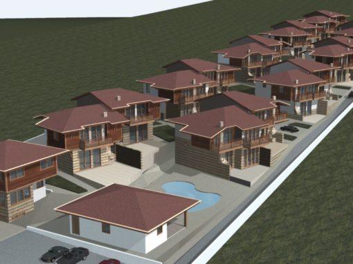 """Вилно селище  """"Слънчев хълм"""" м.Сулуджана, земл.Кошарица, имот 015297 Индивидуални къщи тип А, В, С, Д и Е"""